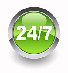 ''24/7 customer service'' glossy icon