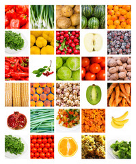 collage of fruits and vegetables