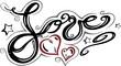 Liebe. love, Logo, filigran, Schnörkel, Tattoo Schrift