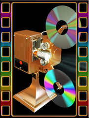 Gold film projecter show move from cd disk