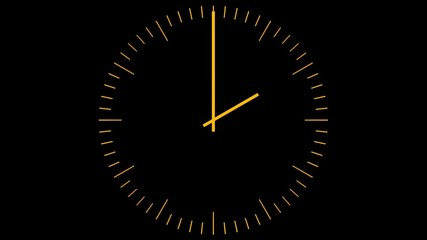Orange clock on a black background