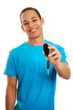 Boy holding car key