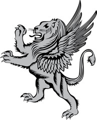 Heraldic symbol lion with wings