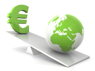 balance - earth and euro  - green business concept