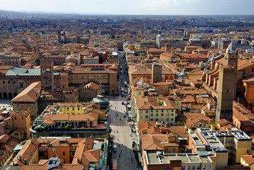 Italy, Bologna aerial view from Asinelli tower.