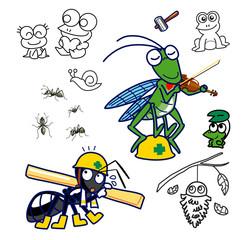 昆虫とカエル