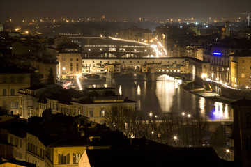 Florence - Ponte Vecchio and the town in the night