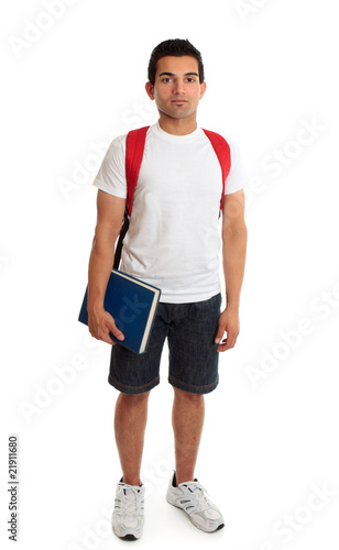 Full length student guy standing on white