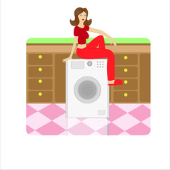 Womanr sitting on a washing machine