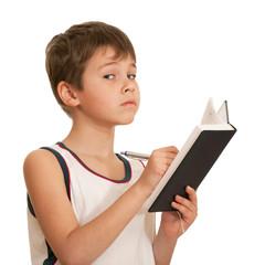 Writting thoughtful boy