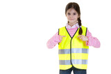 child advice to use the reflective clothing  copy space poster