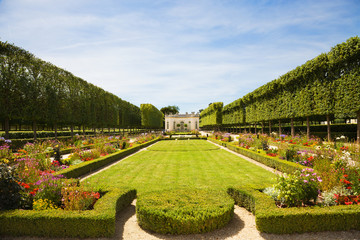 French garden in Marie-Antoniette's Estate. Versailles Chateau