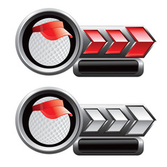 golf ball with visor red and white arrow nameplates
