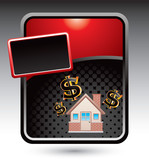 home investment red stylized template poster