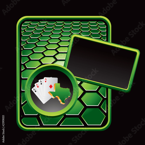 texas hold em green hexagon advertisement