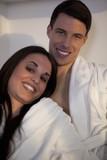 Handsome nice beautiful couple relaxing, looking happy