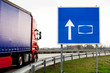 autobahn blank sign with truck
