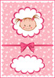 roleta: Cheerful pink babies card.