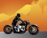 Fototapety Chopper motorcycle vector with rocker on it with tattoo