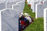 Military National Cemetery Headstones and Flowers poster