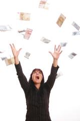 Frau mit Geldregen