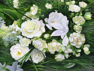 White roses on a green background