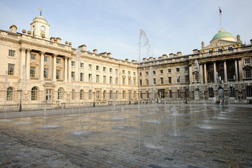 Fountain in courtyard of Somerset House, London, England, UK