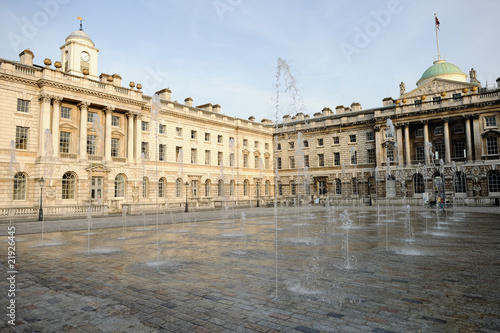 Fountain in courtyard of Somerset House, London, England, UK - 21926445