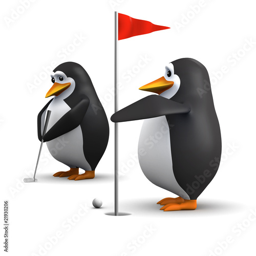 Penguins playing golf
