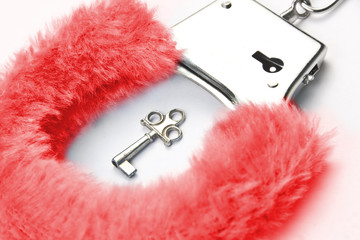 Red fluffy handcuffs