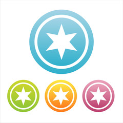 set of 4 colorful stars signs