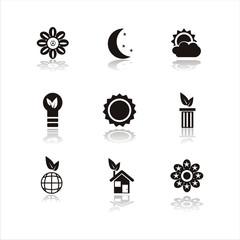 set of 9 black nature icons