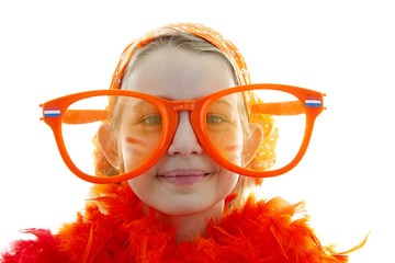 Soccer supporter with big orange glasses over white background