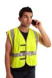 Builder tradesman takes a call poster