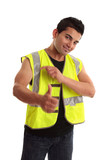 Cool tradesman laborer thumbs up success poster