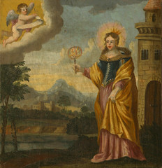Saint Barbara flees from her father