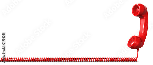 Leinwanddruck Bild Red telephone receiver hotline