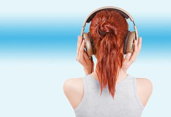 Girl in big headphones