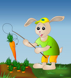 Hare with a fishing tackle and a carrot