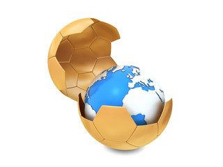 Earth and soccer ball isolated on white background