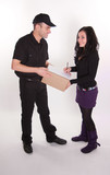 Woman receiving a parcel poster