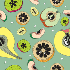 Color fruit seamless pattern