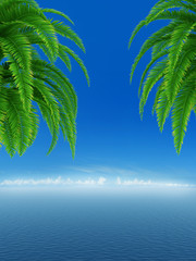 Sunny background with Blue clean sea with palm trees