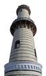 Warnemünder Leuchtturm, freigestellt auf weißem Hintergrund