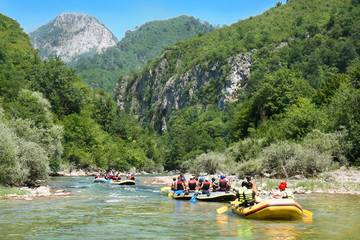Rafting in the beautiful canyon of River Neretva