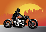 Fototapety Chopper motorcycle vector hot and custom with rocker on it