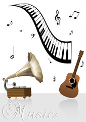 Music background with various instruments and notes