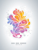 rainbow colored swirly background with floral retro elements - 21955483
