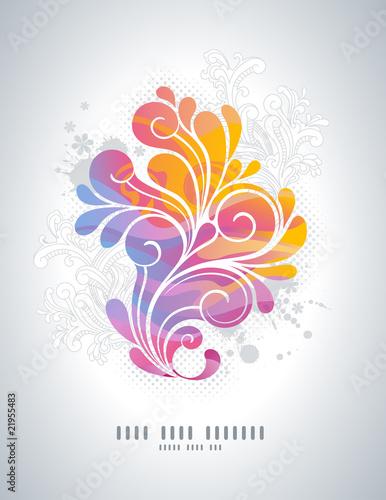 tęcza kolorowe tło swirly z kwiatowymi elementami retro