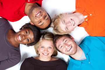 Close-up faces of Multi-racial college students